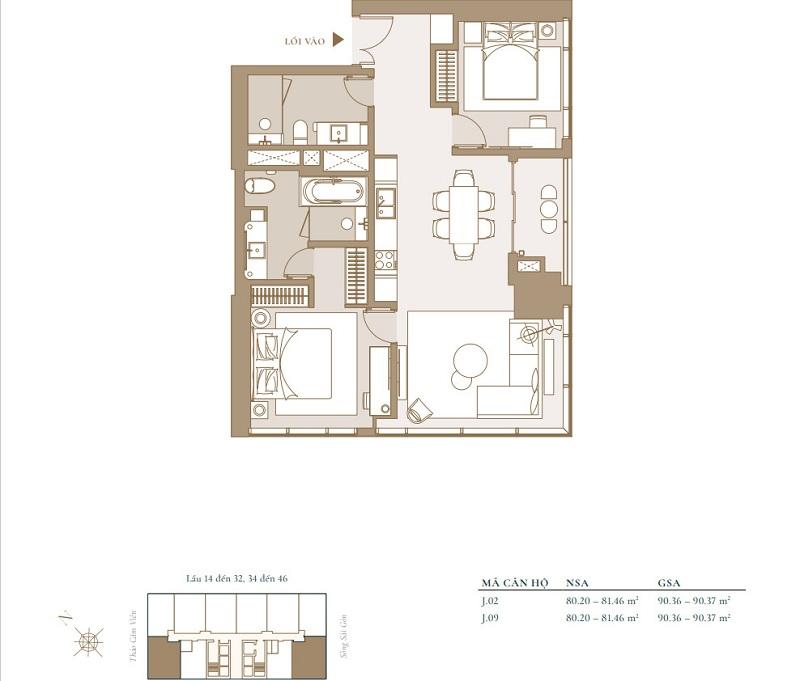 Mặt bằng căn hộ 2 phòng ngủ