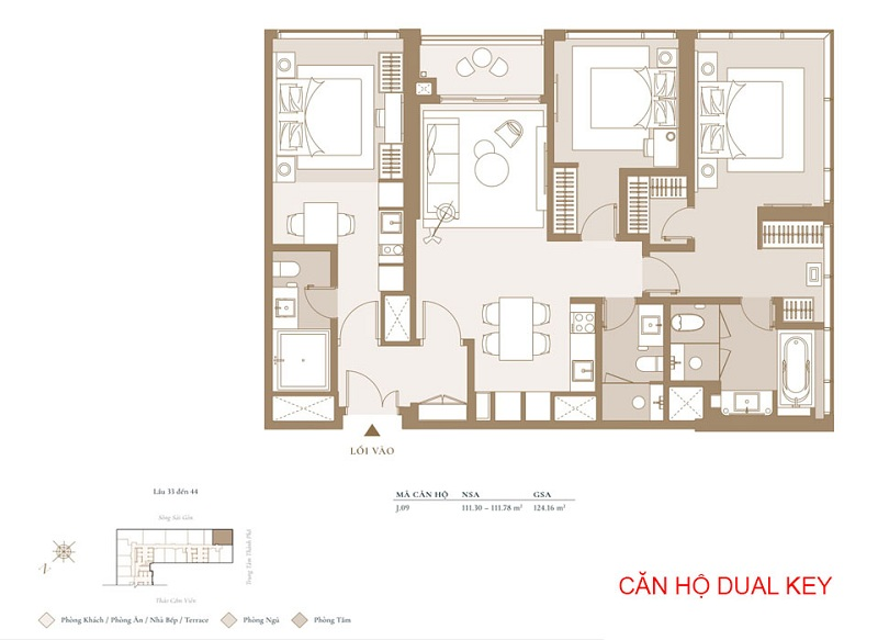 Mặt bằng căn hộ Dual Key