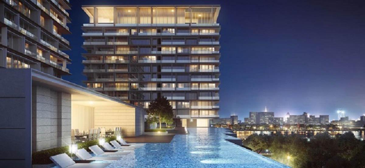 Bể bơi tràn bờ tại dự án được thiết kế với view nhìn đẹp mắt