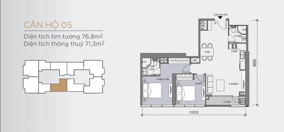Mặt bằng thiết kế mẫu căn hộ có 2 phòng ngủ