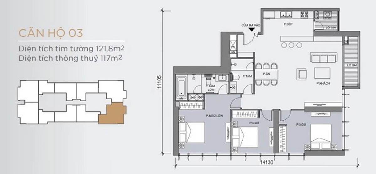 Mặt bằng thiết kế mẫu căn hộ có 3 phòng ngủ