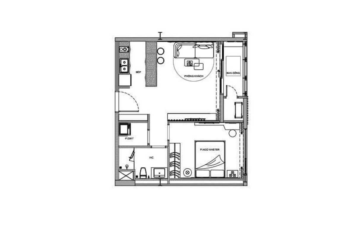 Chi tiết mặt bằng căn hộ 1 phòng ngủ dự án Thảo Điền Green