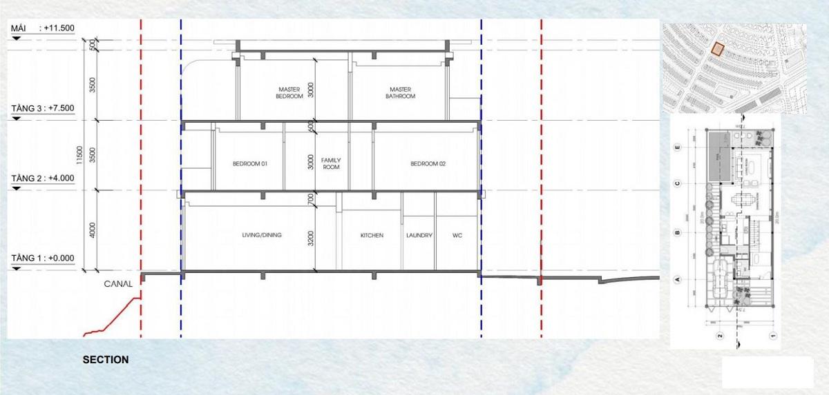 Chi tiết mặt bằng xây dựng mẫu biệt thự song lập Semi Detached Villa dự án Venezia Beach