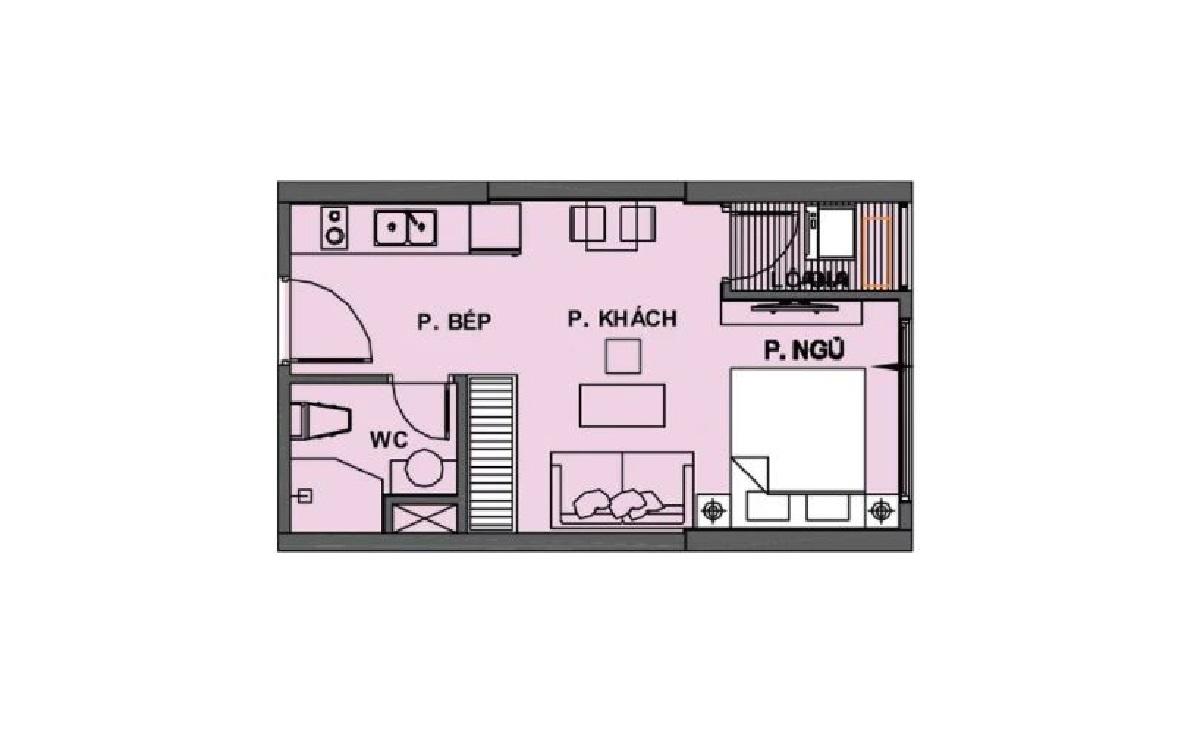 Mặt bằng căn hộ 1 phòng ngủ dự án Vinhomes Dream City Hưng Yên