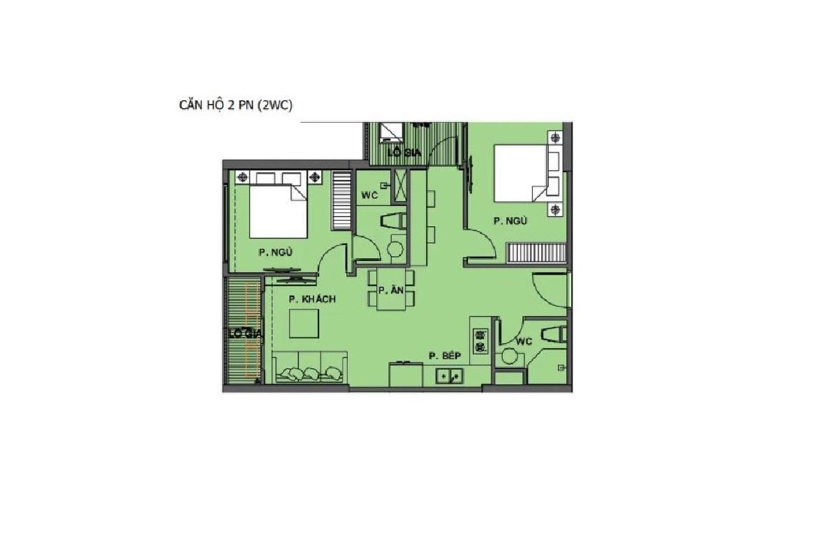 Mặt bằng căn hộ 2 phòng ngủ dự án Vinhomes Dream City Hưng Yên