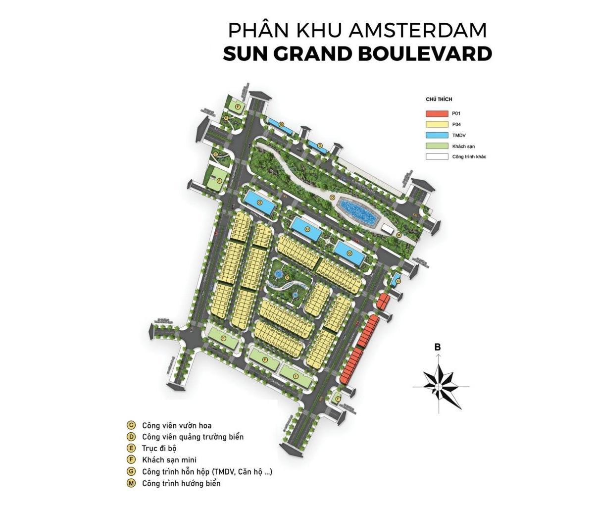 Mặt bằng chi tiết phân khu Amsterdam Sun Grand Boulevard Sầm Sơn Thanh Hoá