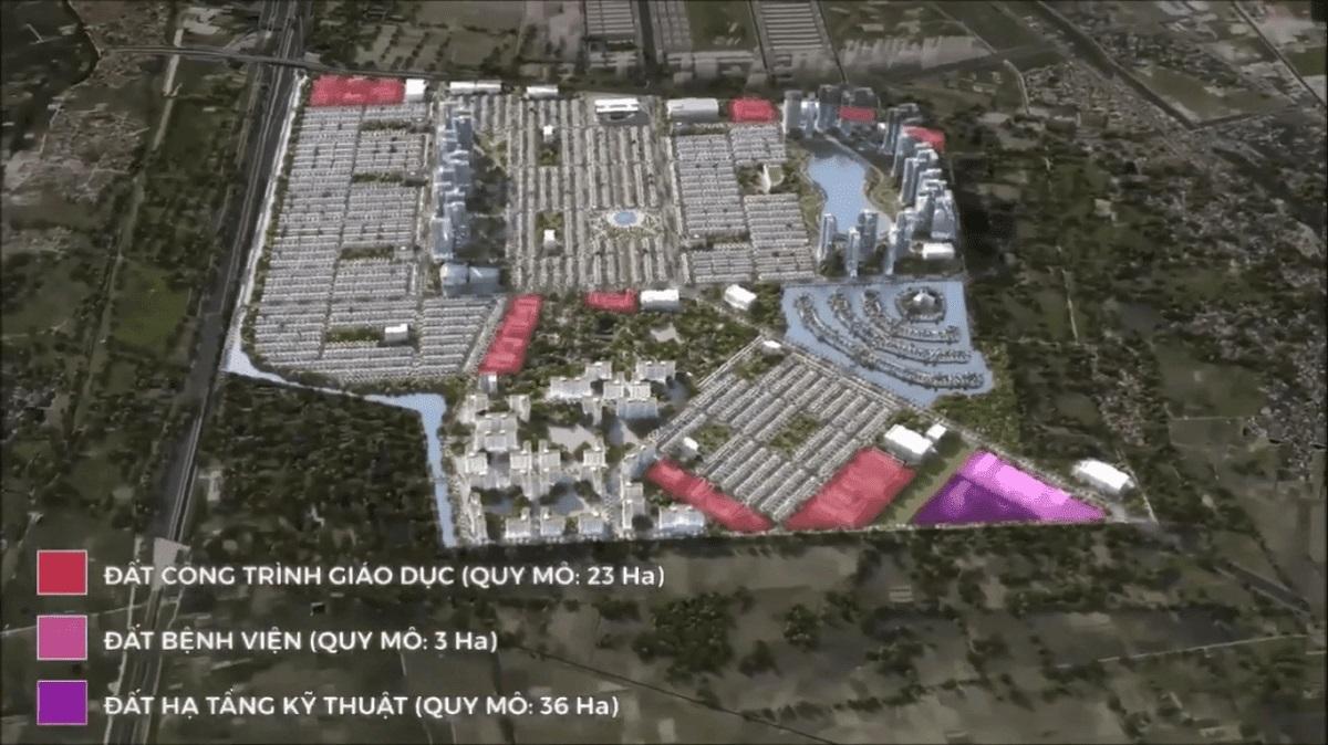 Mặt bằng chi tiết phân khu đất hạ tầng kỹ thuật, bệnh viện và giáo dục