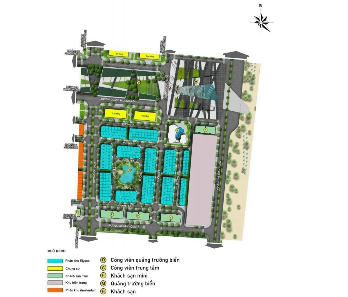Mặt bằng chi tiết phân khu Elysee Sun Grand Boulevard Sầm Sơn Thanh Hoá