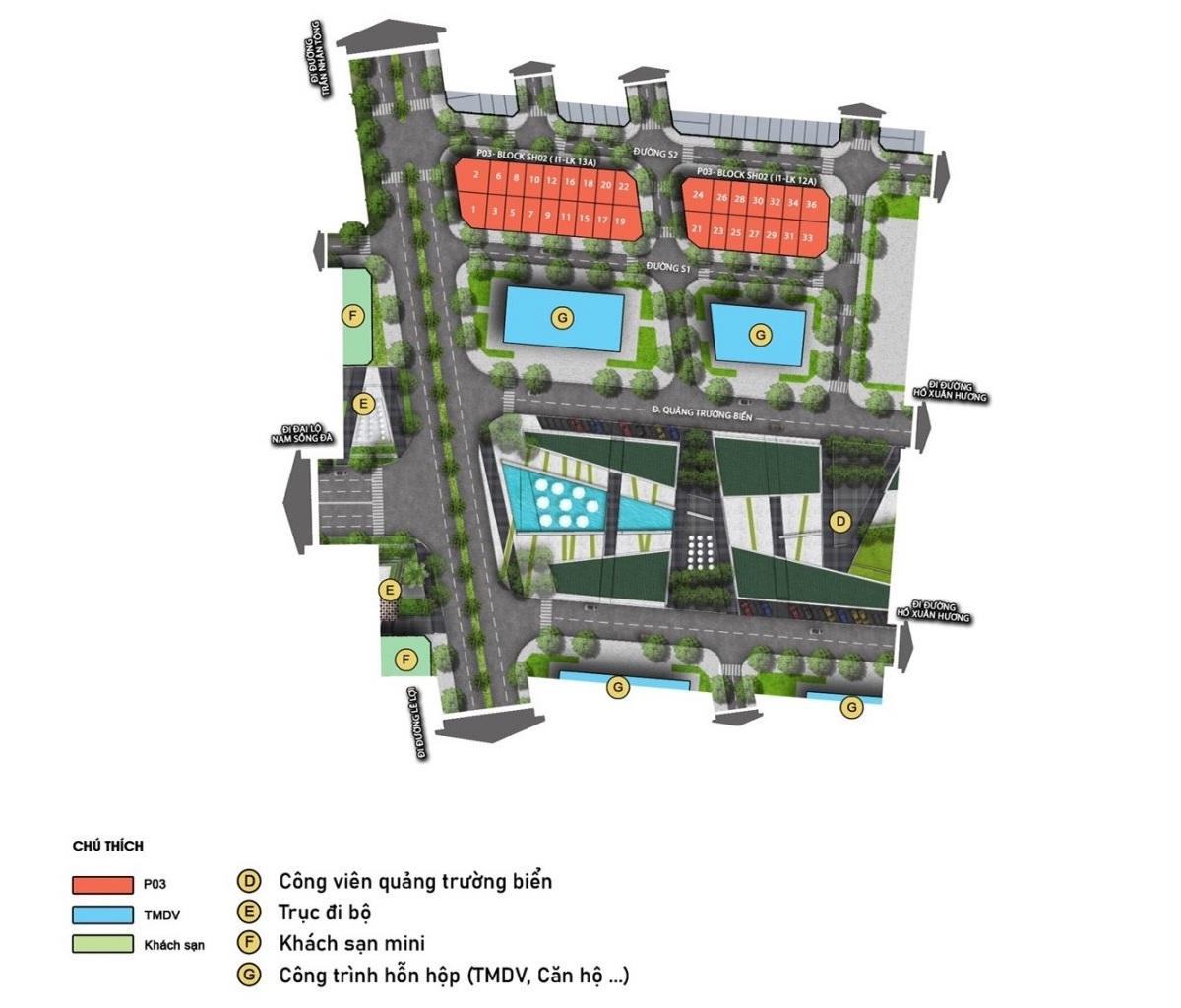 Mặt bằng chi tiết phân khu Sapporo Sun Grand Boulevard Sầm Sơn Thanh Hoá