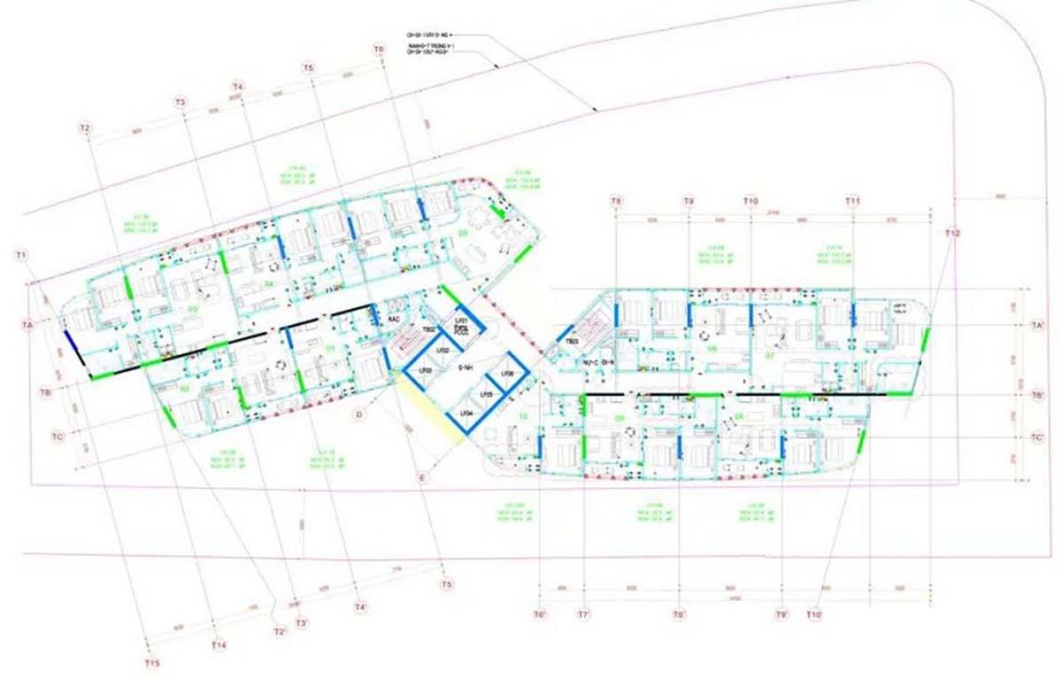 Mặt bằng chi tiết tầng 7 đến 23 lẻ tòa tháp Thảo Điền Green