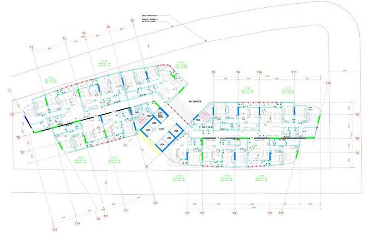 Mặt bằng chi tiết tầng 6 đến tầng 22 chẵn dự án Thảo Điền Green