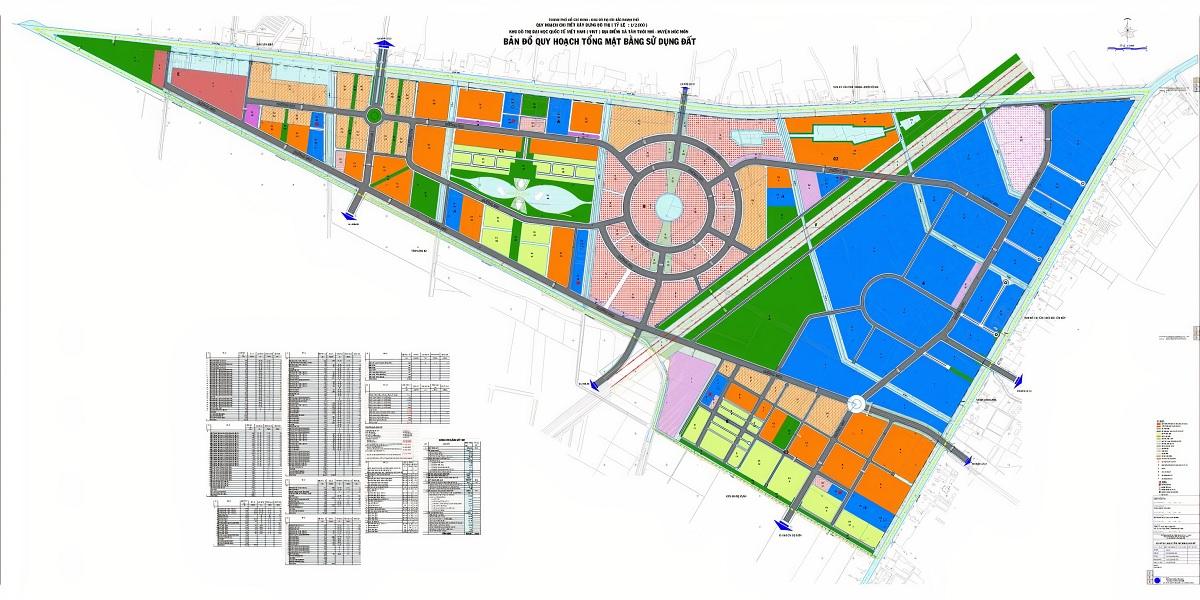 Mặt bằng chi tiết tổng thể dự án Vinhomes Hóc Môn khi xây dựng