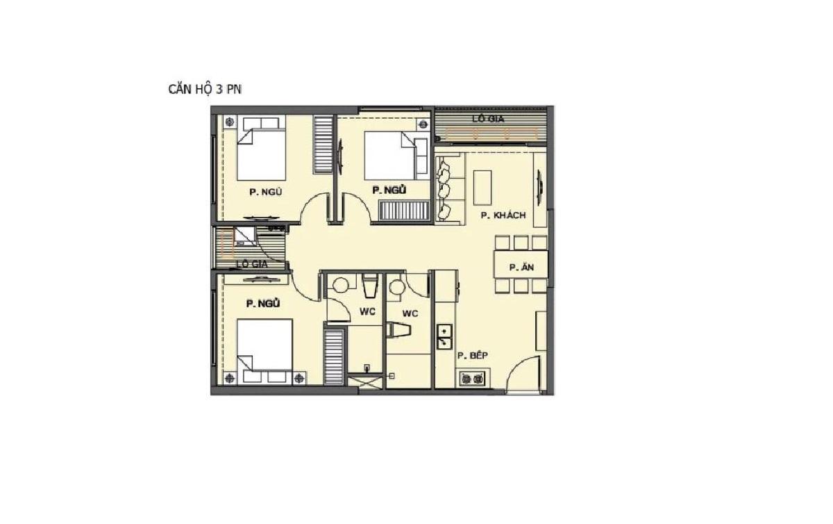 Mặt bằng mẫu căn hộ 3 phòng ngủ