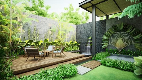 Sân vườn đẹp giúp gia đình gần gũi với thiên nhiên