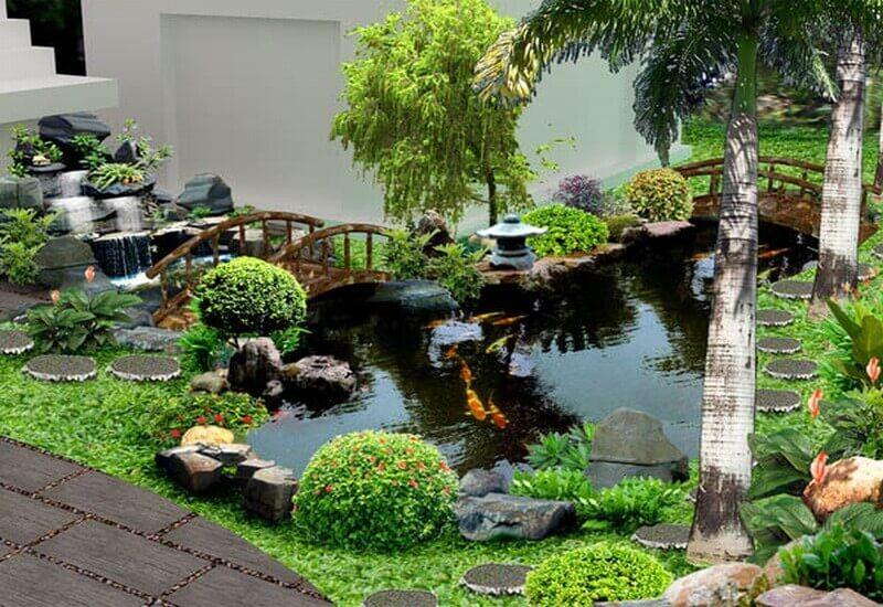 Tiểu cảnh sân vườn kết hợp với hồ nước