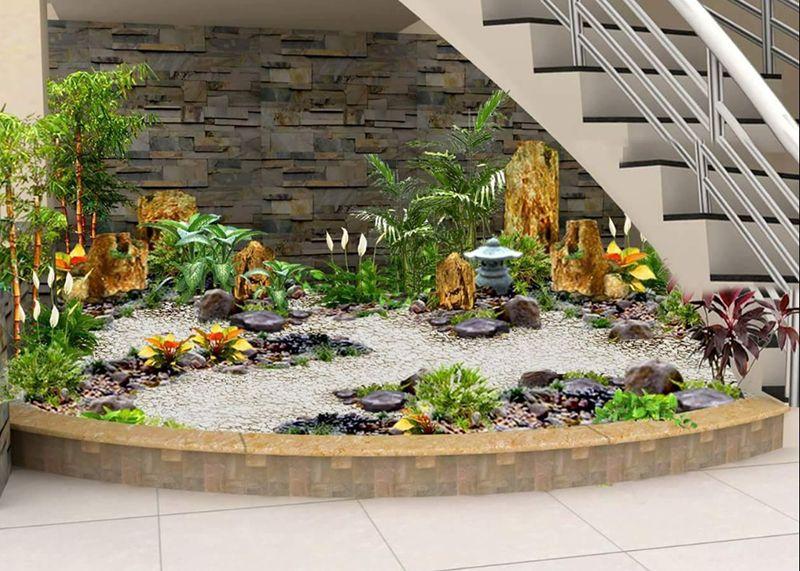 Tiểu cảnh sân vườn hiện đại với không gian mini