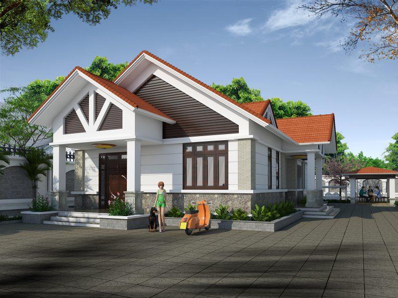 Mẫu nhà cấp 4 mái thái - 3 phòng ngủ và một phòng thờ truyền thống