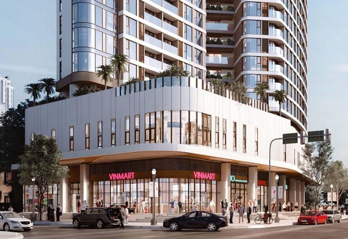 Tầng trệt tòa tháp sẽ được ứng dụng cho Shophouse và các tiện ích liên quan khác