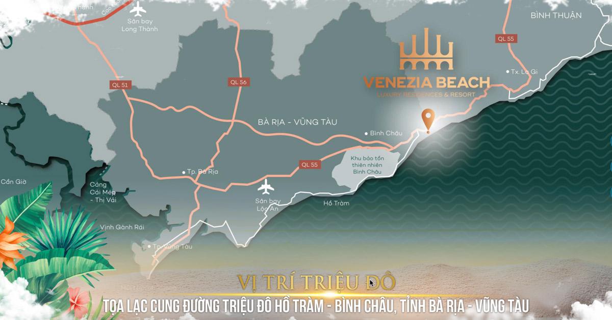 Venezia Beach Hồ Tràm Bình Châu được đánh giá cao về vị trí xây dựng Độc Tôn