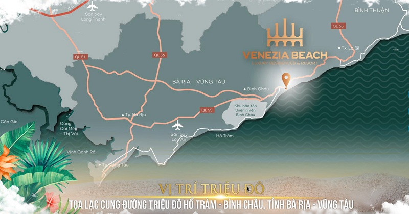 Vị trí Venezia Beach Hồ Tràm Bình Châu là vị trí Kim Cương còn sót lại