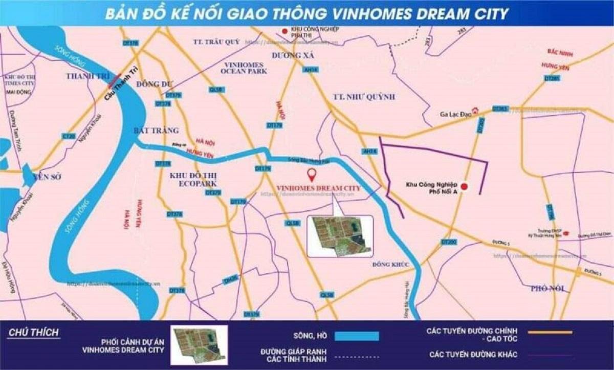 Vinhomes Dream City Hưng Yên được bao quanh bởi mạng lưới liên kết vùng chắt chẽ