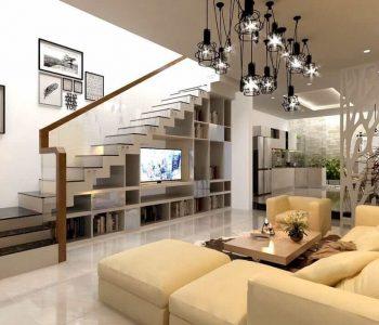 Cách bài trí phòng khách phù hợp khi có cầu thang