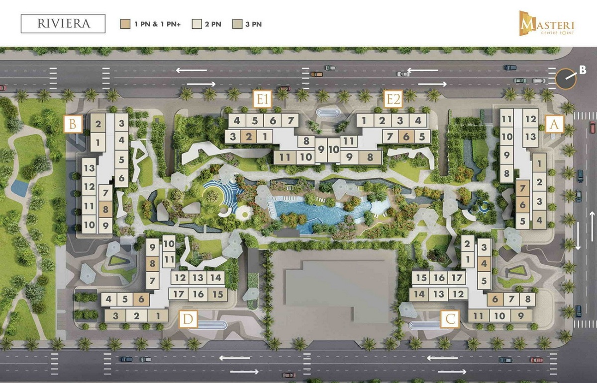 Chi tiết mặt bằng xây dựng phân khu Rivera Masteri Centre Point