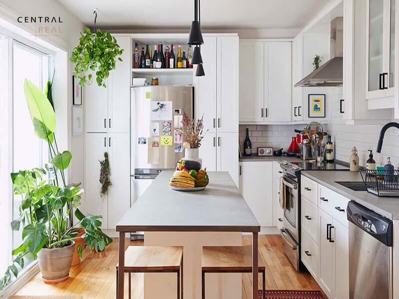 Một chậu cây trên bàn ăn cũng khiến khu bếp trở nên có điểm nhấn