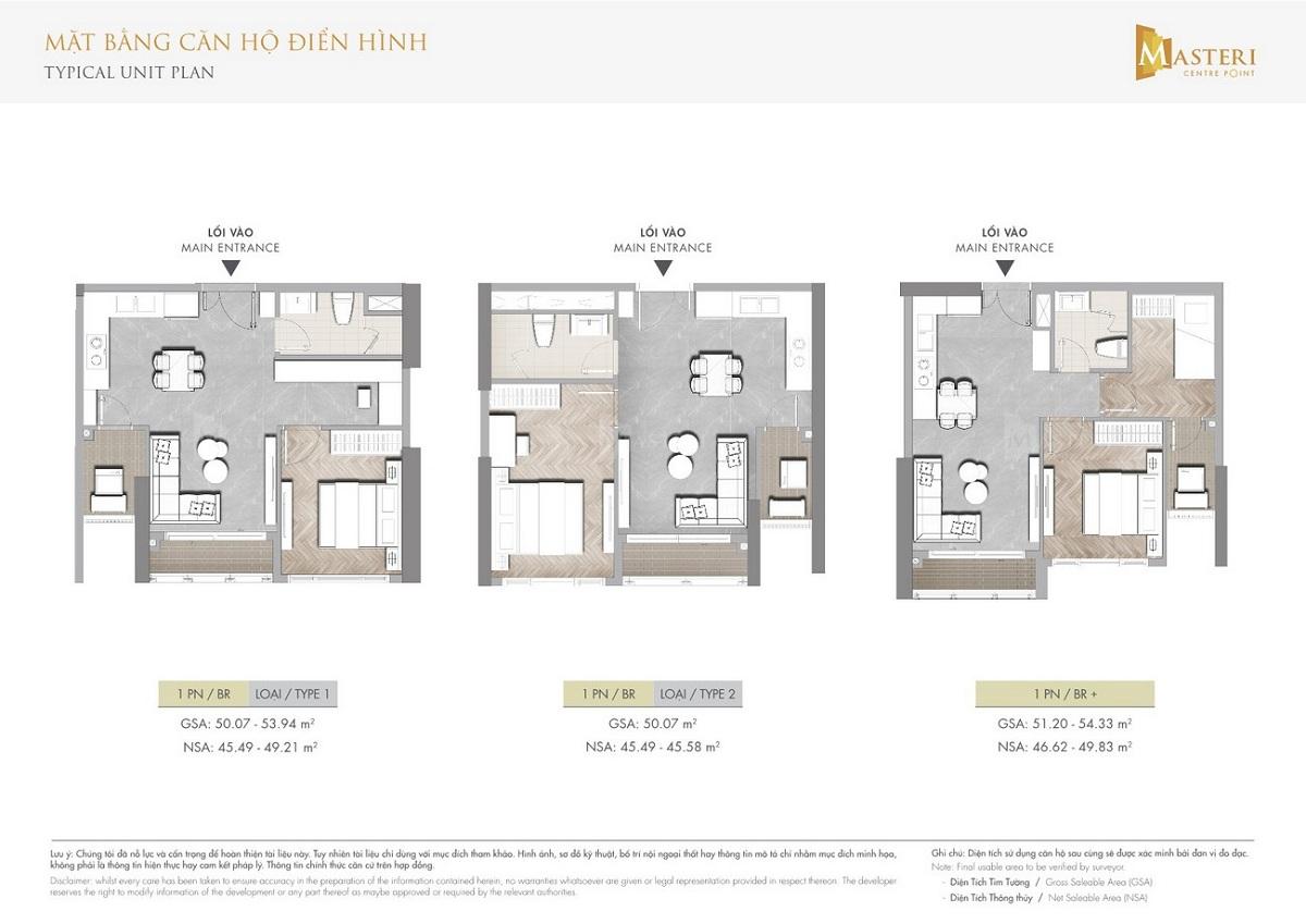 Mặt bằng các căn hộ 1 phòng ngủ dự án Masteri Centre Point
