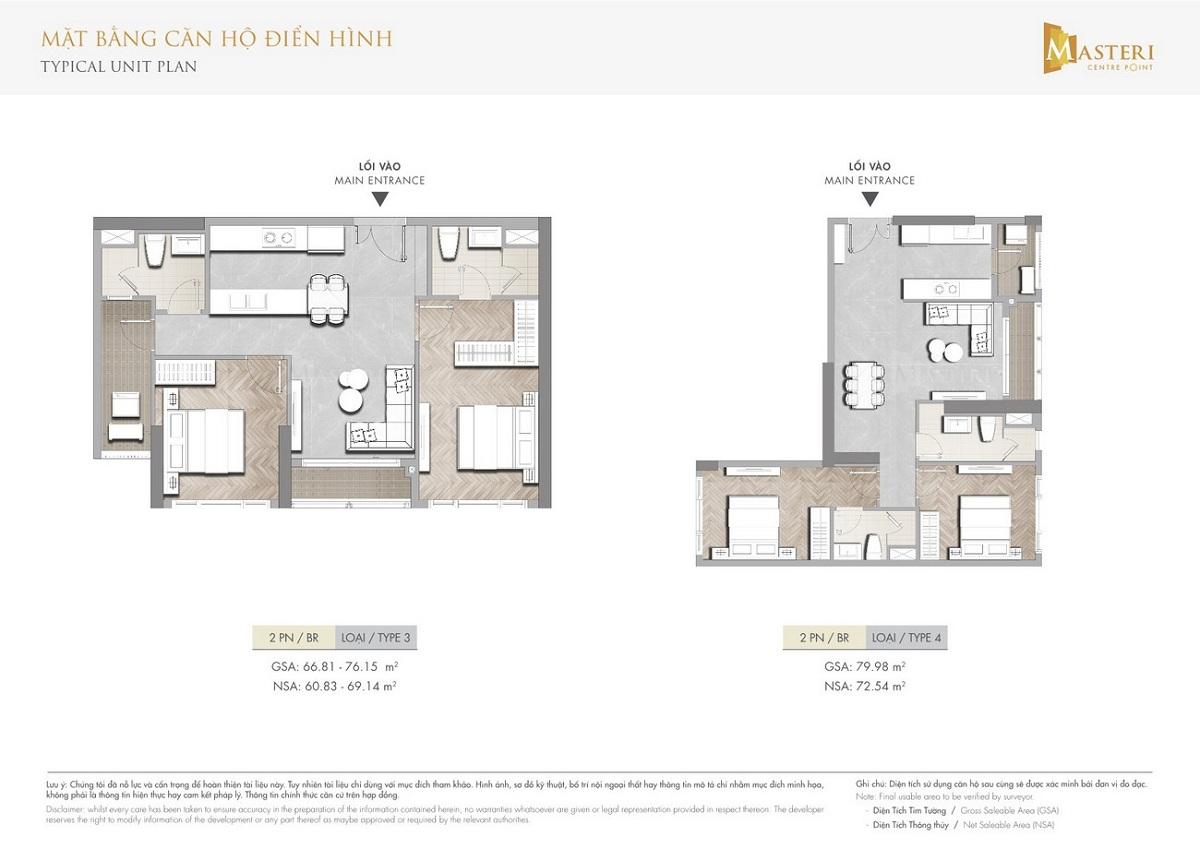 Mặt bằng các căn hộ 2 phòng ngủ điển hình trong dự án Masteri Centre Point