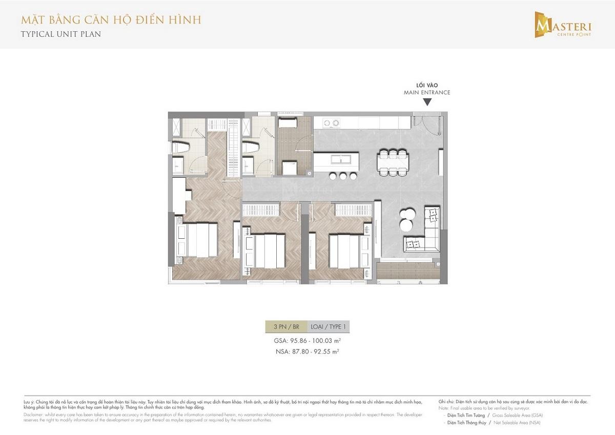 Mặt bằng các căn hộ 3 phòng ngủ điển hình trong dự án Masteri Centre Point