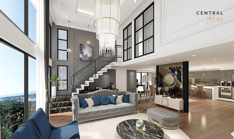 Phòng khách phong cách Luxury của trong căn hộ duplex