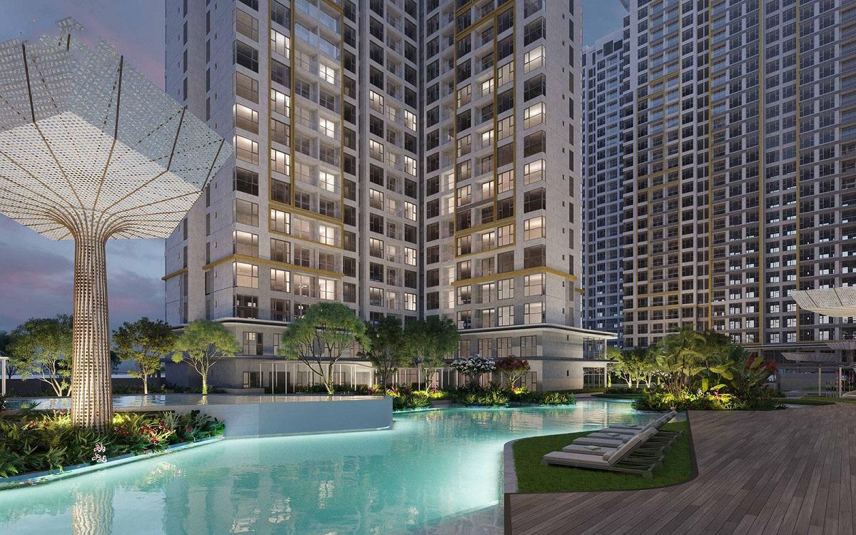 Tiện ích khu bể bơi dài 50m được thiết kế theo kiến trúc độc đáo chinh phục mọi ánh nhìn