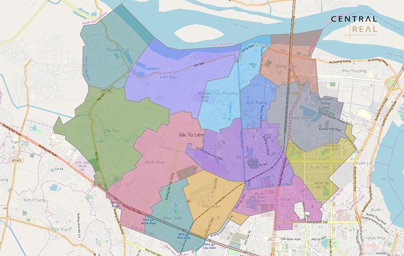 Vị trí địa lý bản đồ quy hoạch Bắc Từ Liêm