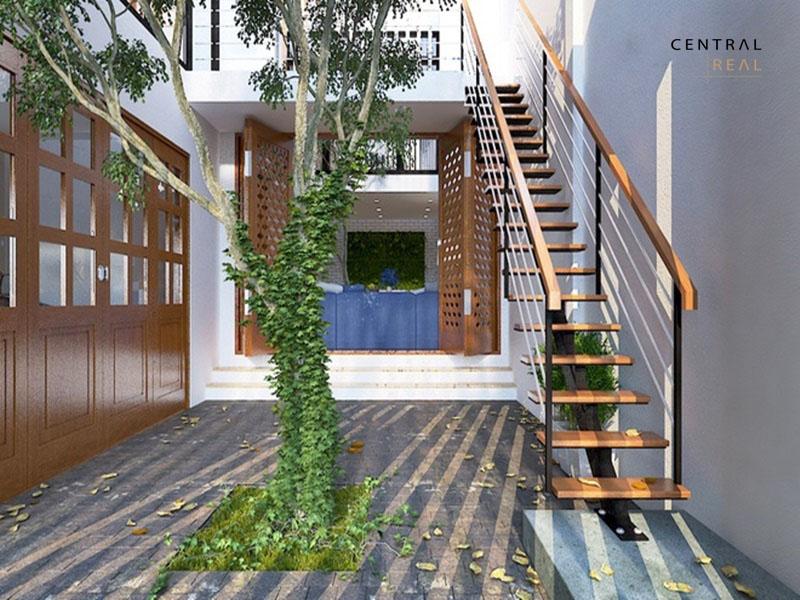 4.Thiết kế cầu thang thẳng ngoài trời