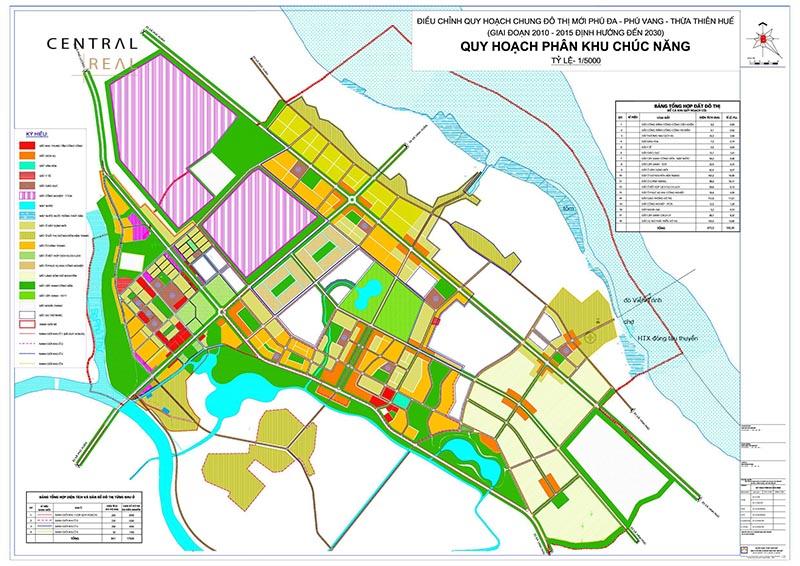 Bản đồ quy hoạch phân khu chức năng KĐT mới Phú Đa