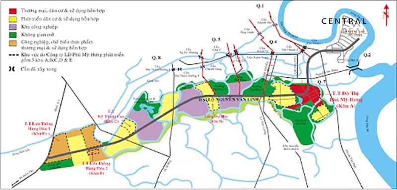 Bản đồ quy hoạch phân khu chức năng KĐT mới Phú Mỹ Hưng