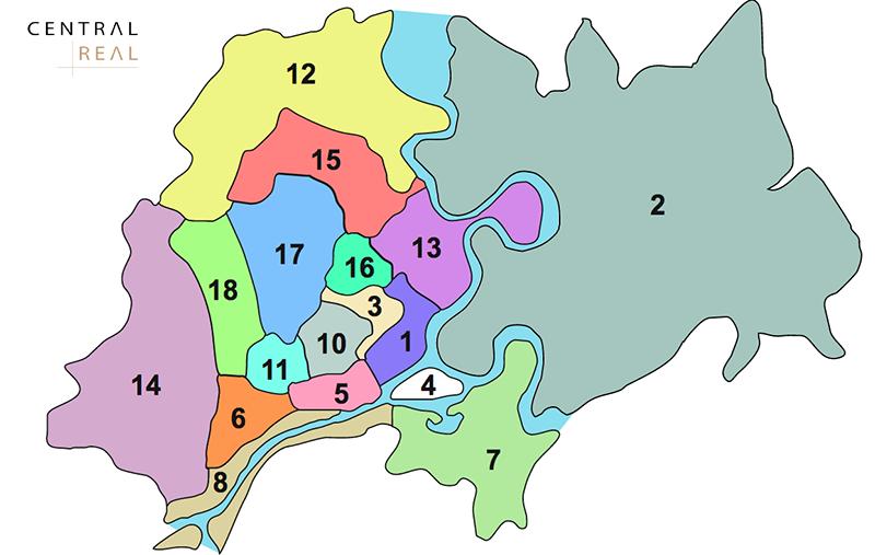 Bản đồ xác định các quận huyện nội đô