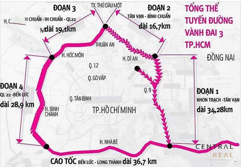 Các đoạn đường Vành Đai 3 – Tp.HCM