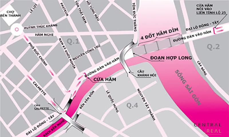 Hầm Thủ Thiêm kết nối 2 quận là Quận 2 và Quận 1